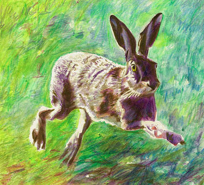 Joyful Hare Art Print by Helen White