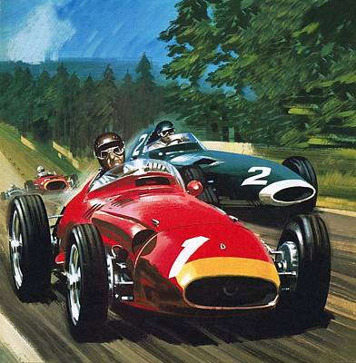 Car Drawing - Juan Manuel Fangio by Wilf Hardy