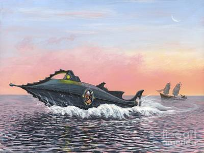 Jules Vernes Nautilus Submarine, Artwork Art Print by Richard Bizley