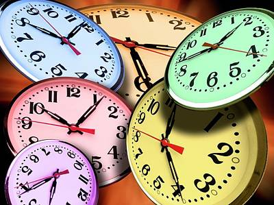 Jumbled Clock Times Art Print