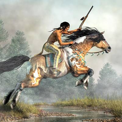 Pinto Digital Art - Jumping Horse by Daniel Eskridge