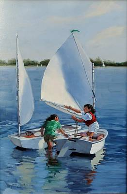 Junior Sailors Two Original by Laura Lee Zanghetti