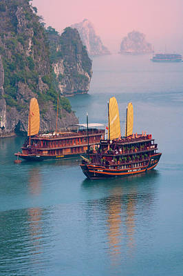 Sites Photograph - Junk Boat And Karst Islands In Halong by Keren Su