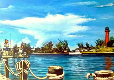 Painting - Jupiter Lighthouse Inlet by Philip Corley