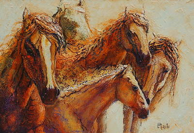 Horses Painting - Just Lingering by Ritch Gaiti