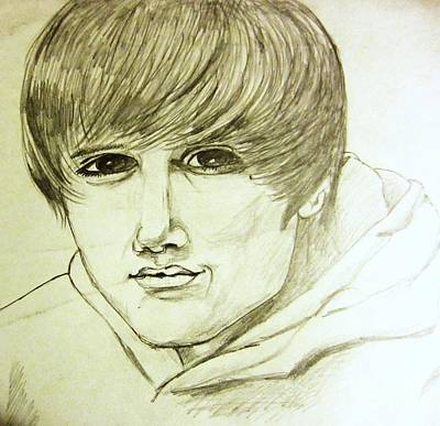 Hop Drawing - Justin Bieber 1 by Esther Rowden