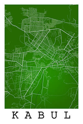 Afghanistan Digital Art - Kabul Street Map - Kabul Afghanistan Road Map Art On Colored Bac by Jurq Studio