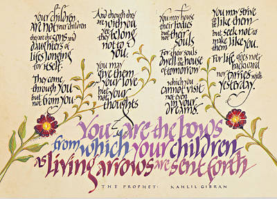 Calligraphy Drawing - Kahlil Gibran - Children by Dave Wood