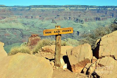 Kaibab Trail Ooh Aah Point Sign And Vista Grand Canyon National Park Art Print