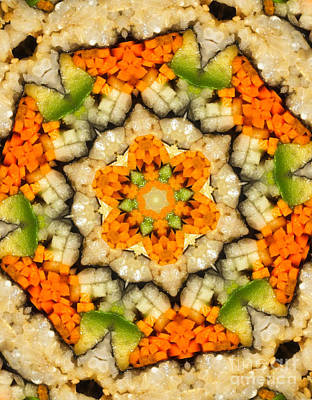 Carrot Digital Art - Kaleidoscope Vegetable Sushi by Amy Cicconi