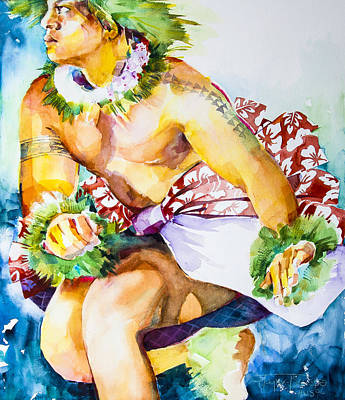 Hawaii Hula Dancer Painting - Kane Kahiko by Penny Taylor-Beardow