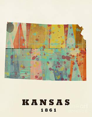 Kansas Artist Painting - Kansas State Map Modern  by Bri B