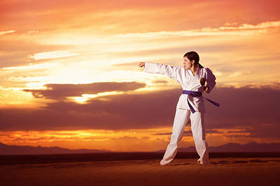 Karate Woman Posing In A Big Western Sky Sunset Print by Kriss Russell
