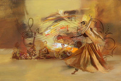 Indian Fine Art Painting - Kathak Dancer 4 by Catf