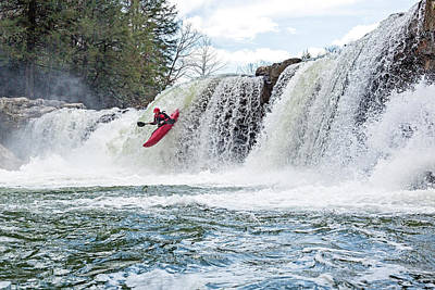 Kayaking A Waterfall Art Print