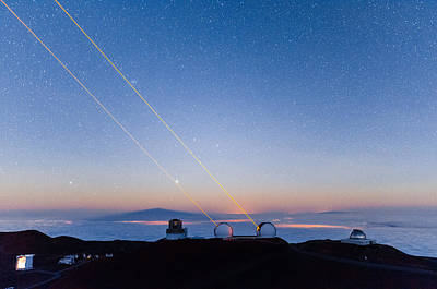 Photograph - Keck Lasers At Moonrise by Jason Chu