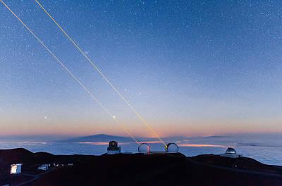 Keck Photograph - Keck Lasers At Moonrise by Jason Chu
