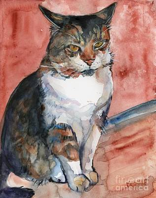 Watercolor Pet Portraits Painting - Keeping Watch by Maria's Watercolor