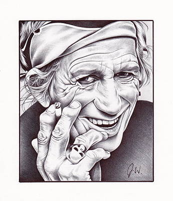 Rolling Stone Drawing - Keith Richards by Jamie Warkentin