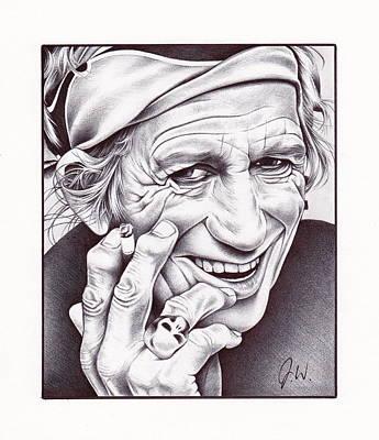 Rock N Roll Drawing - Keith Richards by Jamie Warkentin
