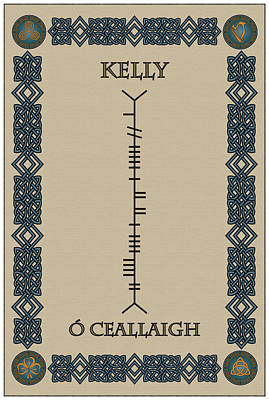 Print featuring the digital art Kelly Written In Ogham by Ireland Calling