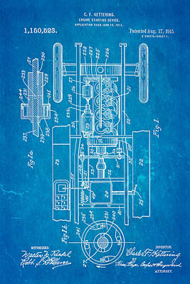 Kettering Electric Ignition Patent Art 1915 Art Print by Ian Monk