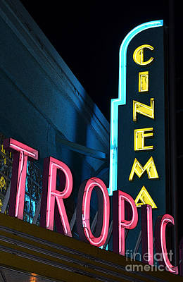 Digital Art - Key West Tropic Cinema Neon Art Deco Theater Signs Poster Edges Digital Art by Shawn O'Brien