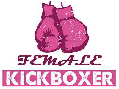 kick boxer - Female Kickboxer Art Print by MotionAge Designs