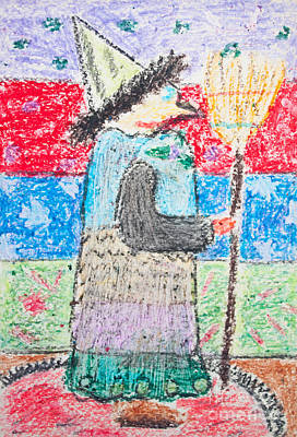 Kid's Drawing Of Witch With Broom Art Print