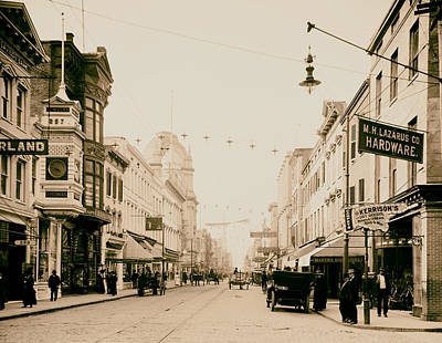 Storefront Photograph - King Street In Charleston South Carolina Circa 1910 by Mountain Dreams