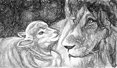 Lion And The Lamb Painting - Kingdom Of Peace by Nana Gale Van