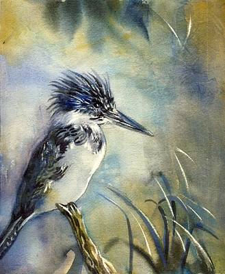 Kingfisher Watercolor Art Print by Alfred Ng