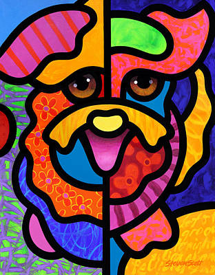 Happy Dog Art Print by Steven Scott
