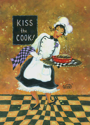 Italian Kitchen Painting - Kiss The Cook by Vickie Wade