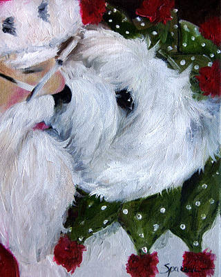 Terrier Painting - Kissing Santa by Mary Sparrow