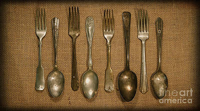 Pantries Photograph - Kitchen Dining Utensils Of Silverware And Flatware With Forks Sp by ELITE IMAGE photography By Chad McDermott
