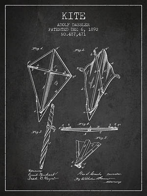 Kite Digital Art - Kite Patent From 1892 by Aged Pixel