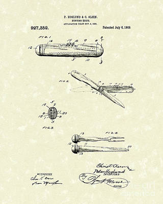 Drawing - Knife 1909 Patent Art by Prior Art Design
