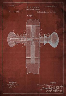 1800 Blueprint Digital Art - Knob Attachment Blueprint Patent by Pablo Franchi