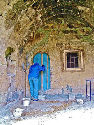 Knocking On A Blue Door Of Tufa Home In Goreme In Cappadocia-turkey  Art Print by Ruth Hager