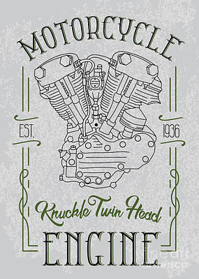 Knuckle Twin Head Motorcycle Engine Art Print