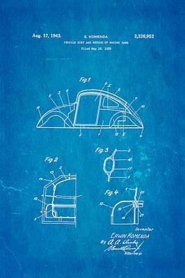 Komenda Vw Beetle Body Design Patent Art 1942 Blueprint Art Print by Ian Monk