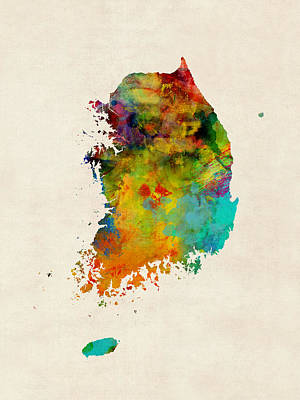 South Digital Art - Korea Watercolor Map by Michael Tompsett