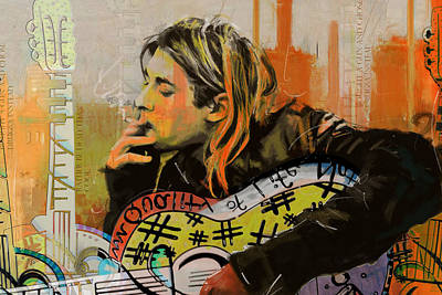 Rock And Roll Paintings - Kurt Cobain by Corporate Art Task Force