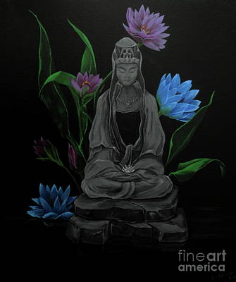 Lotus Leaves Painting - Kwan Yin by D L Gerring
