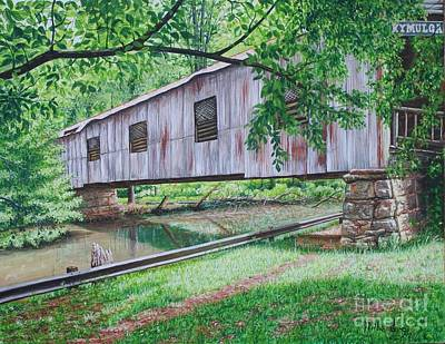 Covered Bridge Painting - Kymulga Covered Bridge by Mike Ivey