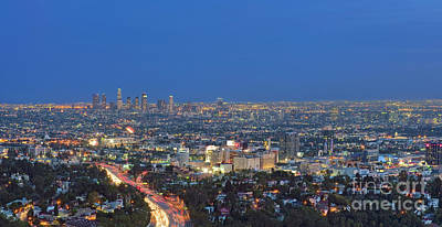 Photograph - L.a. Skyline Los Angeles Ca Cityscape Night Dusk Lit Lights On 3 by David Zanzinger
