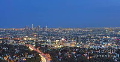 L.a. Skyline Los Angeles Ca Cityscape Night Dusk Lit Lights On 3 Art Print