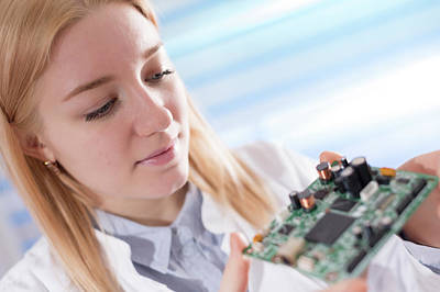 Circuit Photograph - Lab Assistant Holding Circuit Board by Wladimir Bulgar