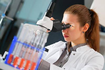 Lab Assistant Using Microscope Art Print